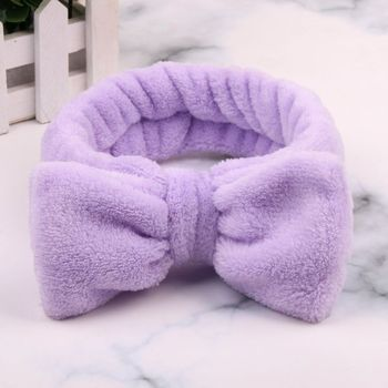 Women Coral Fleece Bow Headband Soft Wash Face Makeup Hairband Solid Hair Ties Girls Turban Head Wraps Cat Ears Hair Accessories image