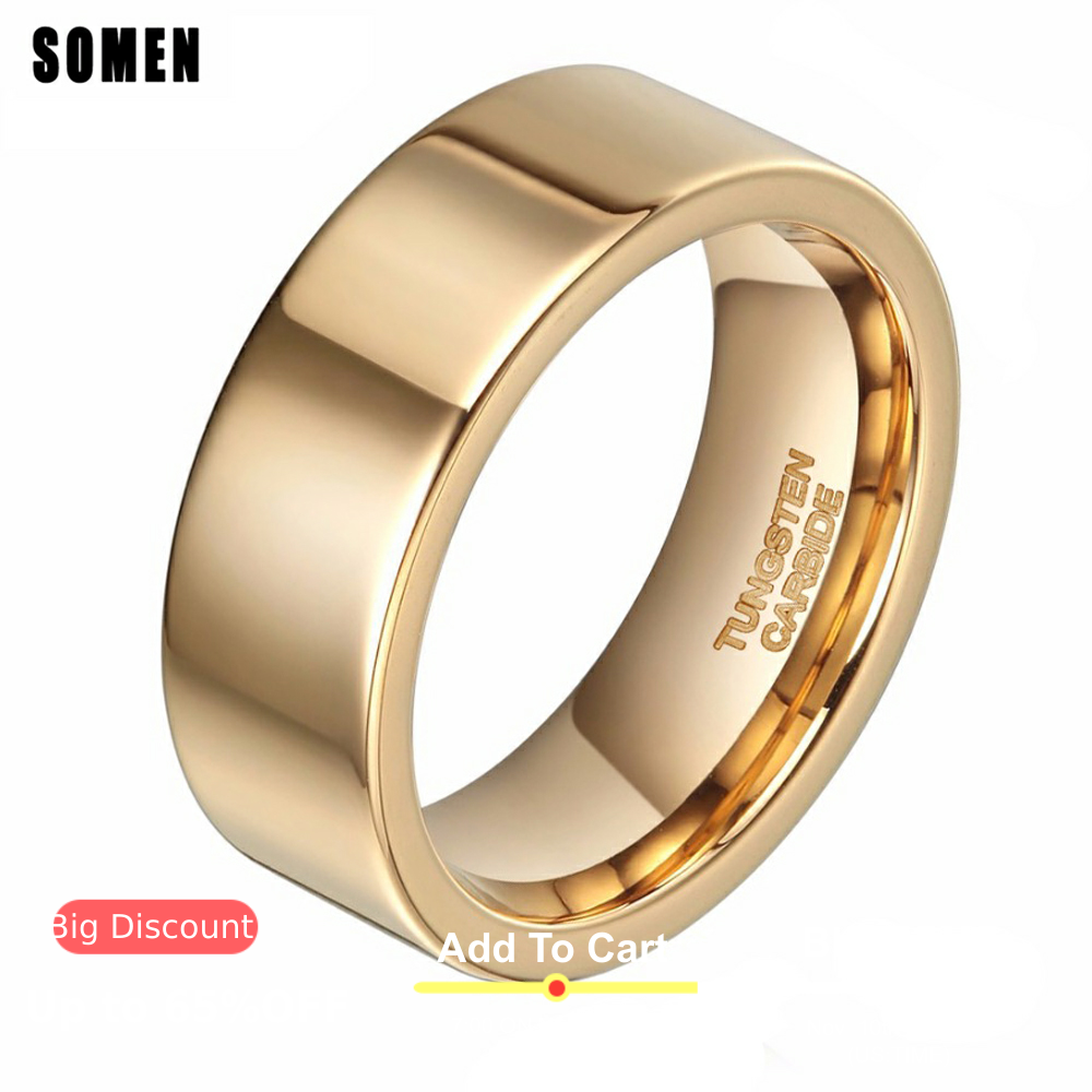 8mm Luxury Ring Men Pure Gold Tungsten Ring Wedding Band Engagement Rings High Polished Fashion Women Jewelry Anti-Scratch