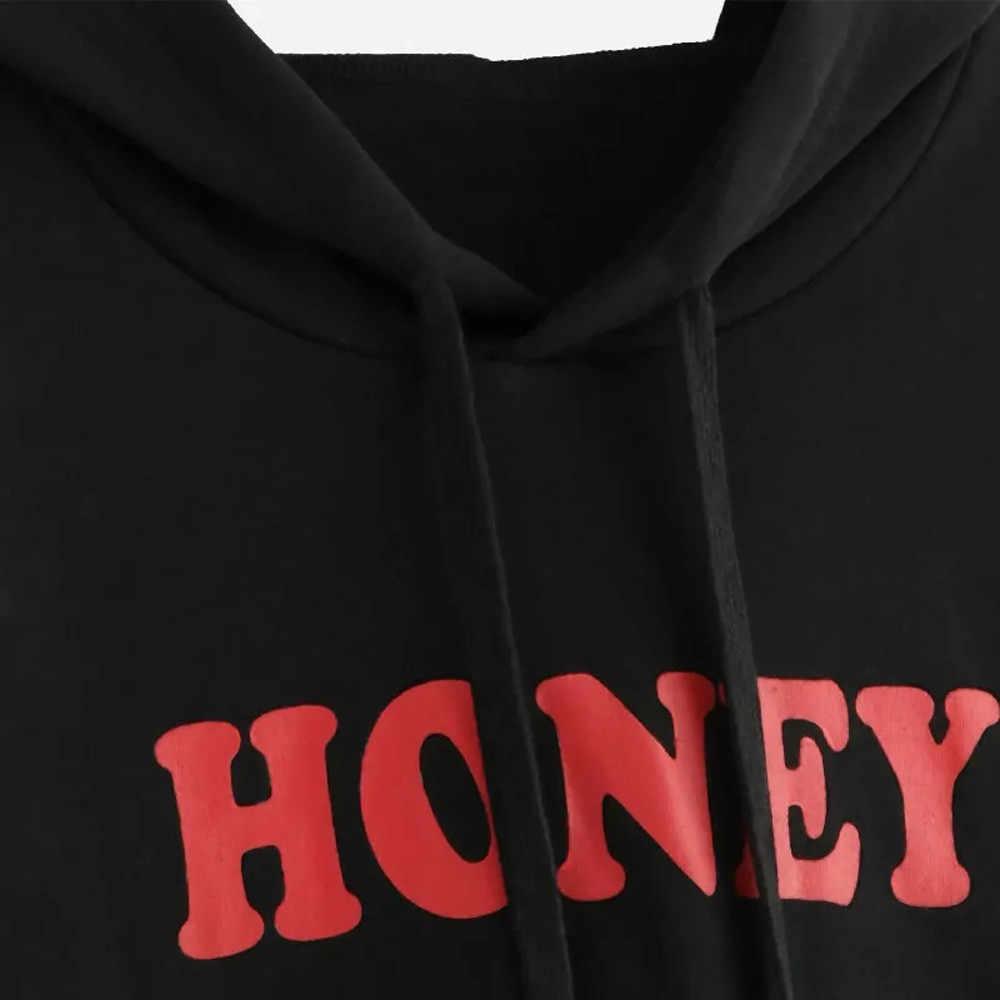 하라주쿠 검은 자르기 탑 스웻 셔츠 긴 소매 편지 여성 후드 후드 streetwear 까마귀 kpop hoody 탑스 블라우스 new