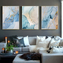 Abstract Marble Canvas Painting Wall Art Nordic Poster Print Watercolor Pictures For Living Room Decoration
