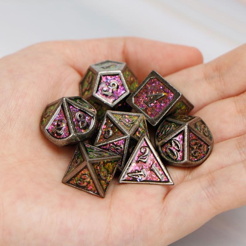 MetalDice Dnd D&D D+D D AND D Dice Sets RolePlayingDungeonAndDragon Polyhedral Ancient Rainbow 7PCS D20 D12 D10 D8 D6 D4