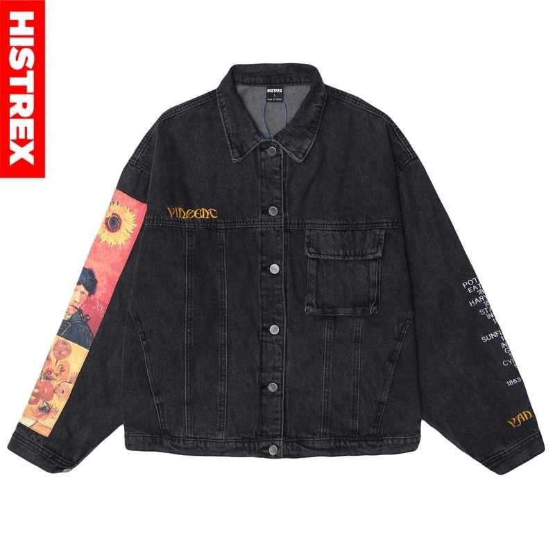 힙합 남성 데님 자켓 Streetwear Vincent Van Gogh 자수 데님 Jean Bomber Jacket Coat 빈티지 하라주쿠 루스 블루 블랙