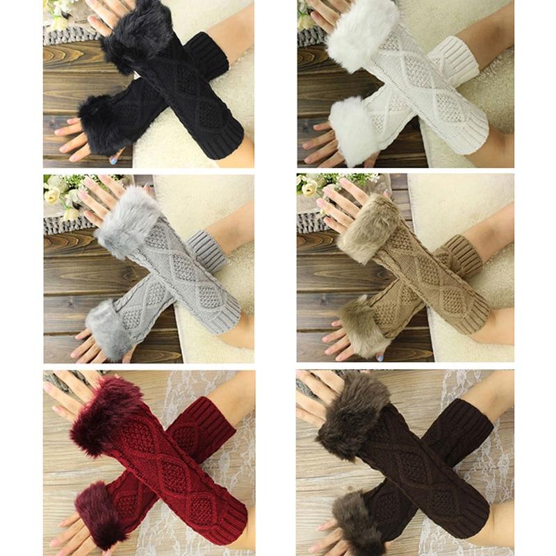Women Warmth Knitted Arm Gloves Fur Autumn Winter Fingerless Long Stretchy Mittens Gloves Men Women Hand Arm Warm Gloves Soft