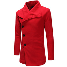 Mens windbreaker single row buckle mens slant lapel coat man trimmed hair clothes