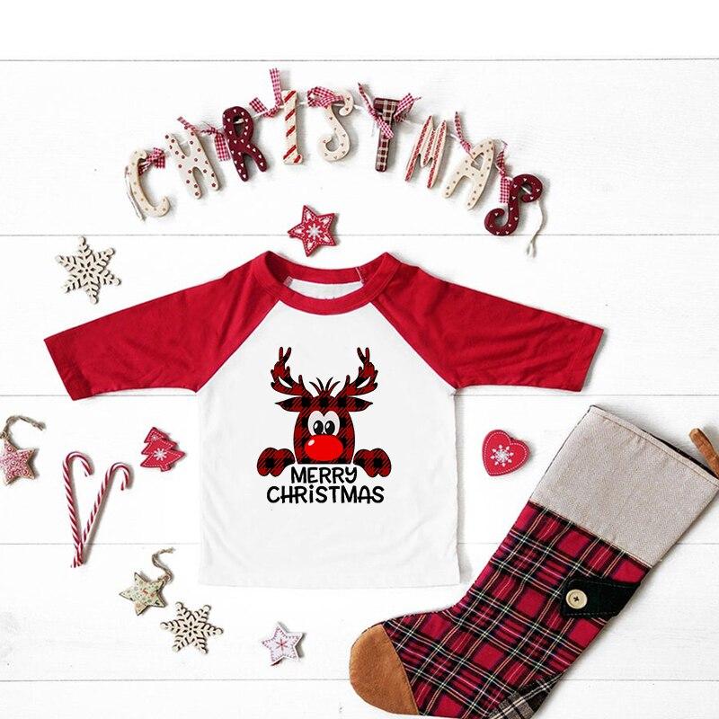 camiseta natal vermelha para criancas camisa feliz 01