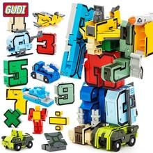Digital DIY Building Blocks Assembly Deformation Robot Number Transformation Math Letters Montessori Educational Toys