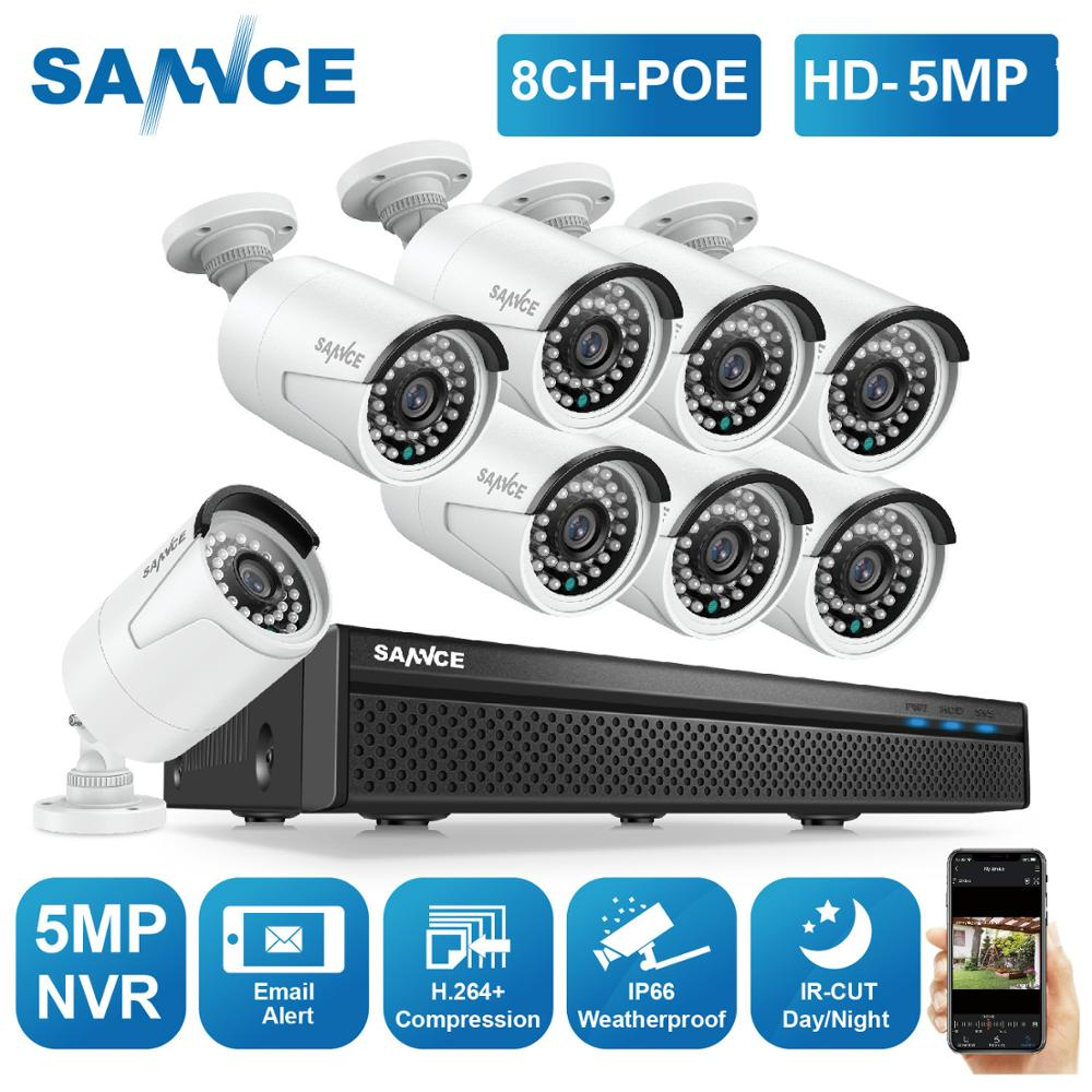 SANNCE 8CH 5MP FHD POE Video Security System H.264+ 5MP NVR With 4X 8X Outdoor Waterproof Two Way Audio Micro IP Camera CCTV Kit
