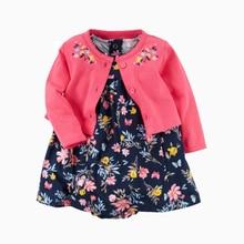 Комплект из 2 предметов, Одежда для новорожденных и маленьких девочек боди платье 2021 на лето и осень с длинным рукавом Детские Топы Кардиган ...