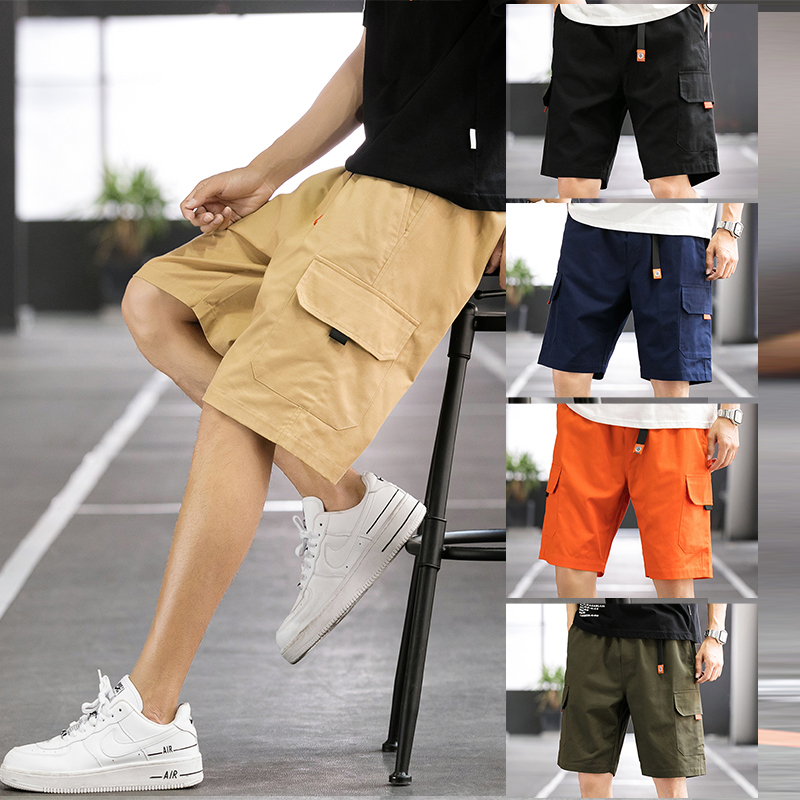 New Cargo Shorts Men Casual Streetwear Jogger Pants Beach Wear Soft Loose Multi Pocket Bermuda Shorts mens ClothingB18