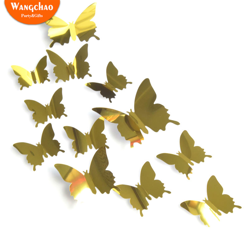 Us 0 95 64 Off Pvc 3d Mirror Butterfly 12pcs Lot Wedding Diy Party Background Decoration Cute Artificial Butterflies Flower Baby Shower Decor In