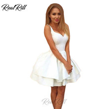Real Rill V Neck Homecoming Dresses Lace Up Back Satin Short Tiered A Line Club Dress For Party Graduation