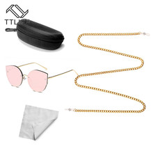 TTLIFE Pink Women Sunglasses Brand Designer Glasses Chain Case Cloth Combination Special Big Discount YJHH0321