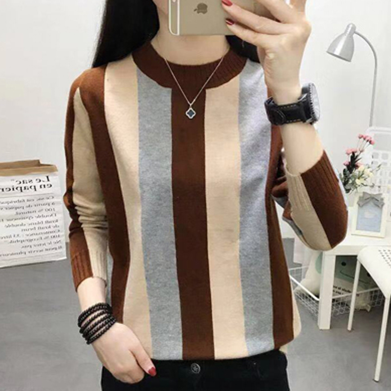 Shintimes пуловер свитер вязаный женский зимний 2020 Новый корейский стиль с длинным рукавом в полоску с круглым вырезом теплые женские свитера Pull Femme|Водолазки| | АлиЭкспресс