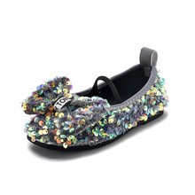 Princess Shoes Butterfly-Knot Loafer Flats Sequined Girls Casual New for Chic Soft-Bottom