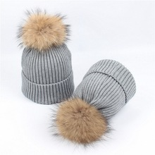Womens Winter Hat Kitted Wool Skullies Beanies Women and Kids Real Mink fur Ball Beanie Hats Thick Girls Boys