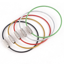 цены 5PC Stainless Steel Wire Keychain Cable Rope Key Holder Keyring 5 Colors Key Chain Rings Women Men Jewelry