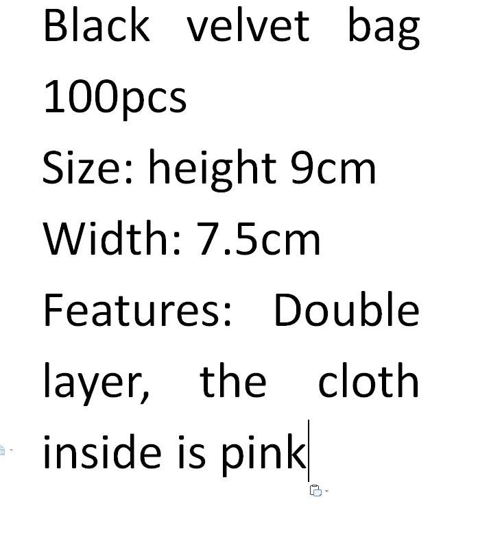 Wholesale 100pcs Black Double Layer High Quality Velvet Bag Suitable For Bracelet Bag Charm Bag Jewelry