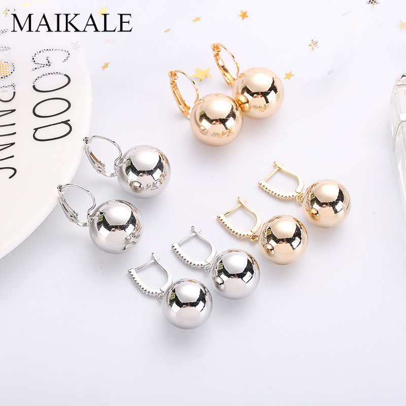 MAIKALE Simple Big Ball Earrings Gold Silver Color Round Metal Statement Earrings Cubic Zirconia Drop Earrings For Women Gifts