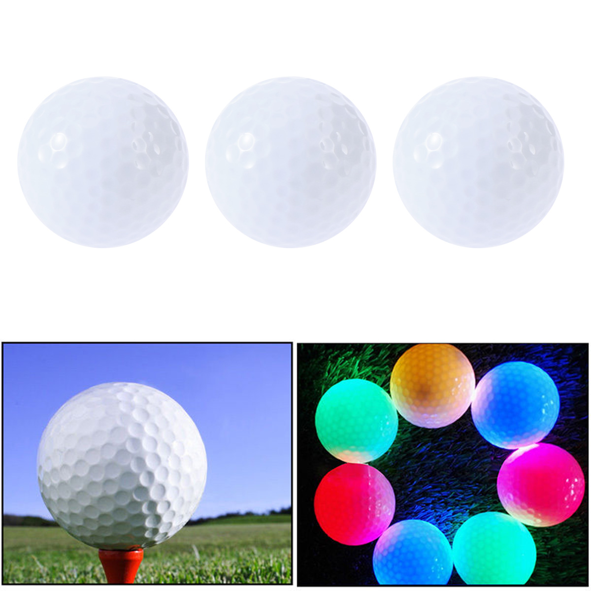 3 Pcs Luminous Night Golf Balls LED Light Up Golf Balls Glow In The Dark Bright Long Lasting Reusable Night Golf Ball