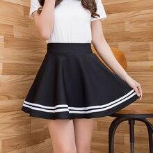Pleated Skirt High Waist A-Line Women Skirts Striped Stitchi