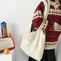 Простая Холщовая Сумка-тоут для девушек, женская сумка на плечо из овечьей ткани с вышивкой, вместительные сумки для покупок, милая сумка дл...