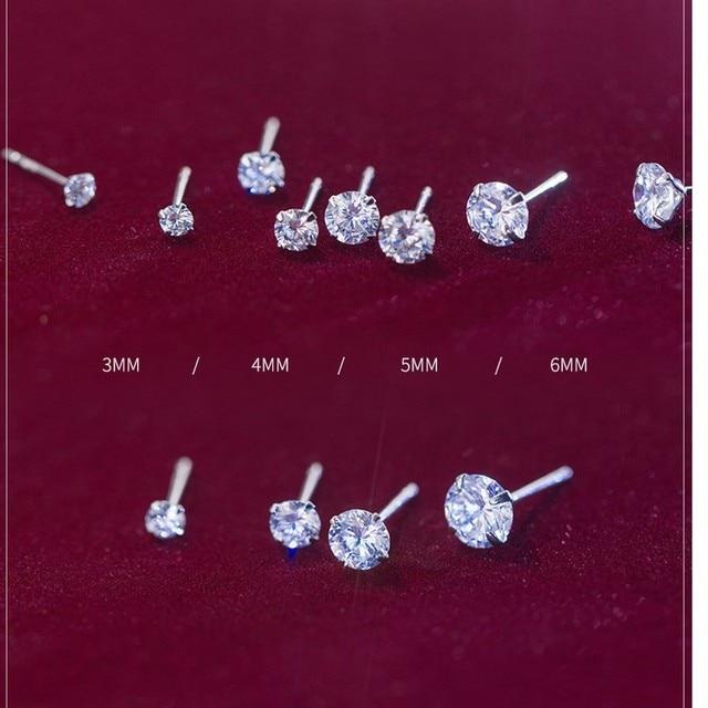 100 925 Sterling Silver Earring Classic Fashion 3mm 4mm 5mm 6mm Four Claws Diamond Stud Earrings.jpg 640x640 - 100% 925 Sterling Silver Earring Classic Fashion 3mm 4mm 5mm 6mm Four Claws Diamond Stud Earrings For Women Men Gift Oorbellen