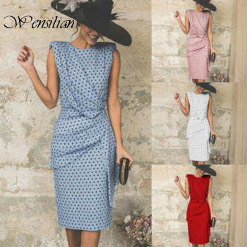 Elegant Party Dress Women Summer Dress Polka Dot Midi Dresses Sleeveless Backless Casual Dress Slim Club Sundress Robe Longue polka dot zip up side dress