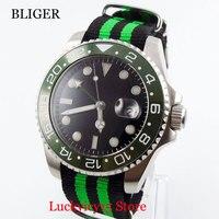 Automatic Men's Watch Sapphire Glass Nylon Strap 40mm Silver Color Case Auto Date Automatic Movement