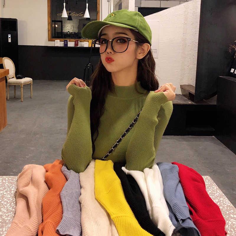 Bottoming 솔리드 컬러 여성 가을 스웨터 2019 새로운 스웨터와 높은 목-긴팔 한국어 ins 조수 야생 여성 탑스