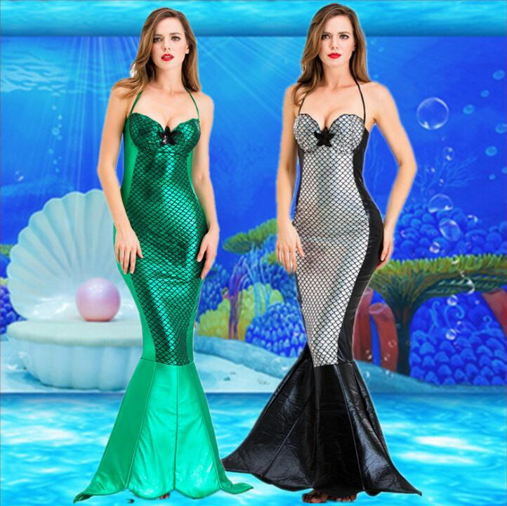 Princess Ladies Women Halloween Cosplay Costume Fancy Party Sequins Maxi Tail Long Green Dress Adult Little Mermaid Ariel