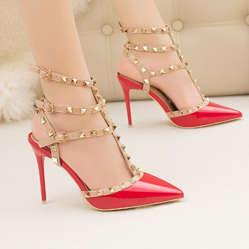 Women's sexy nightclub stiletto heels patent leather metal rivet hollowed-out high heels Roman high heels sandals