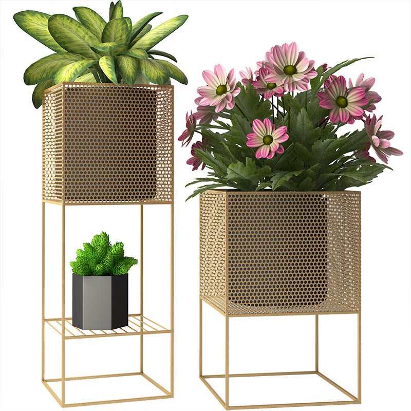 Nordic Designer Minimalist Indoor Living Room Flower Stand Balcony Creative Green Planting Stand Flower Metal Stand