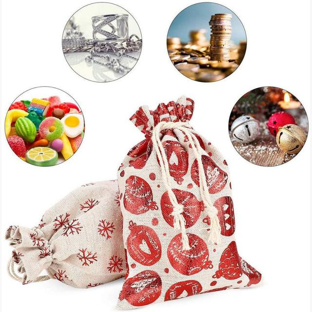 Christmas Gift Bags Candy Bag 24pcs Christmas Advent Calendar Candy Storage Bag Chrismas Tree Hanging Pendant Bag New Year Decor 2
