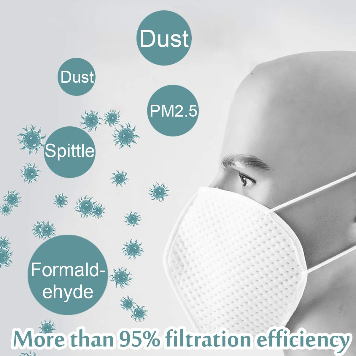 Reusable N95 Mask with Respirator Valve in Thicken Layers Design for Protection from Flu and Virus 4