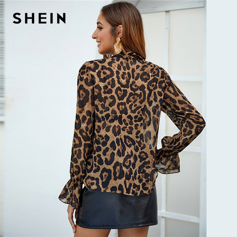 SHEIN Multicolor Tie Neck Flounce Sleeve Leopard Top Women Elegant Blouse Spring Autumn Stand Collar Office Lady Sheer Blouses 2