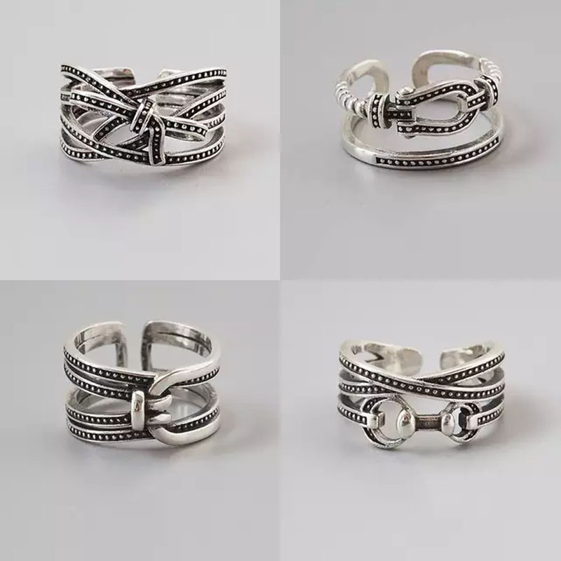 Vintage <font><b>925</b></font> <font><b>Sterling</b></font> <font><b>Silver</b></font> <font><b>Rings</b></font> <font><b>For</b></font> Women <font><b>Men</b></font> Punk Thai <font><b>Silver</b></font> Horseshoe Bowknot Index <font><b>Rings</b></font> Adjustable S-R389 image
