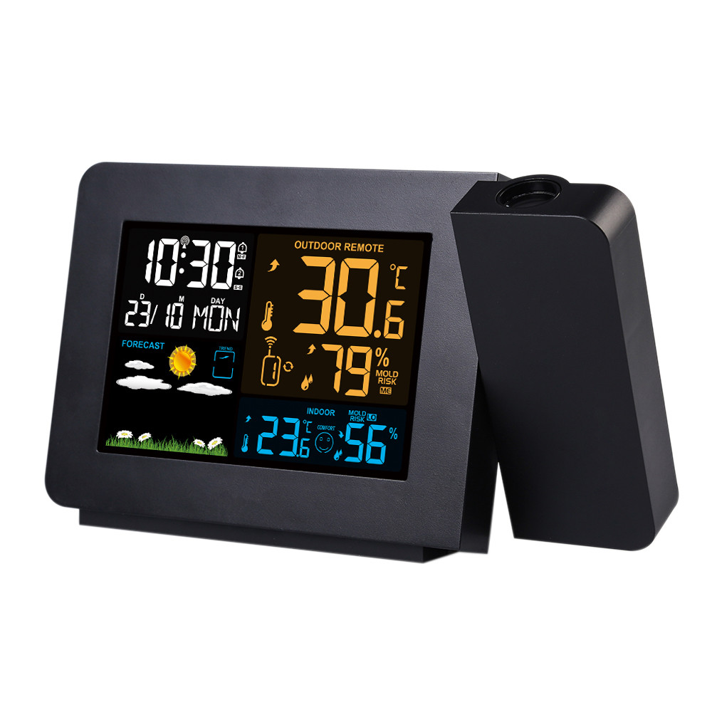 CW/_ Weather Station Alarm Clock Thermometer Wireless Temperature Humidity Meter