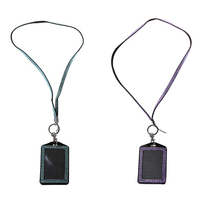 2 Pcs Rhinestone Bling Crystal Custom Lanyard Vertical ID Badge Holder (Light Blue & Red)