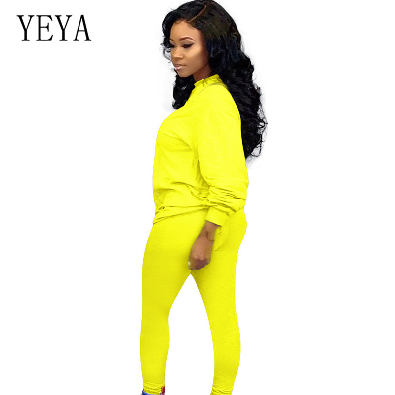 YEYA Elegant Rompers Women Jumpsuits Femme Solid Casual Two Pieces Sets Ladies Sportslong Sleeve Playsuits Trouser Plus Size XXL