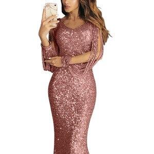 Image 4 - Lantejoulas tassel vestido de manga longa franja sukienka elegante vestidos de festa longos vestido de noite robe 2020 sexy vestido brilhante até o chão