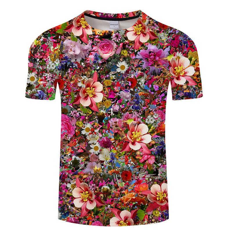 花のtシャツ男性女性花葉 3Dプリントtシャツ夏原宿ストリート半袖美しいローズフラワーtシャツ