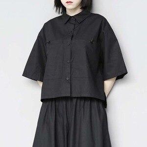 [EAM] Women Black Pocket Split Joint Short Blouse New Lapel Half Sleeve Loose Fit Shirt Fashion Tide Spring Summer 2020 1W289
