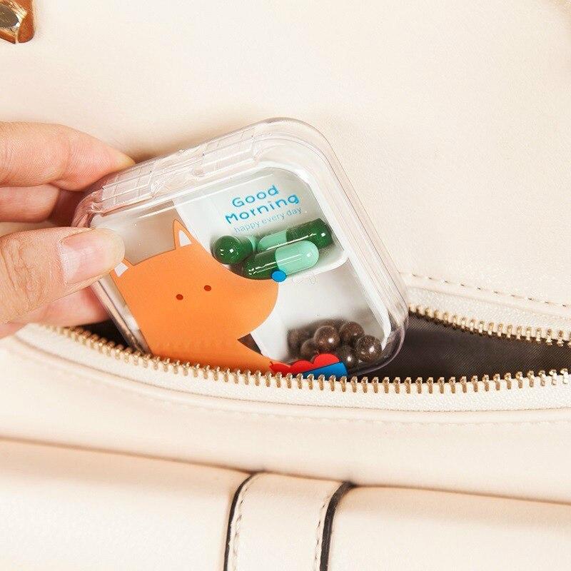Travel Accessories Cartoon 4 Grids Pill Cutter Box Portable Convenient Drug Box Tablet Cutter Splitter Medicine Pill Box