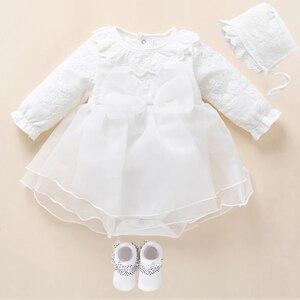 Платье для новорожденных девочек и одежда, платье для крещения, белое платье для крещения для маленьких девочек, кружевное платье, Vestido Bebe, ...