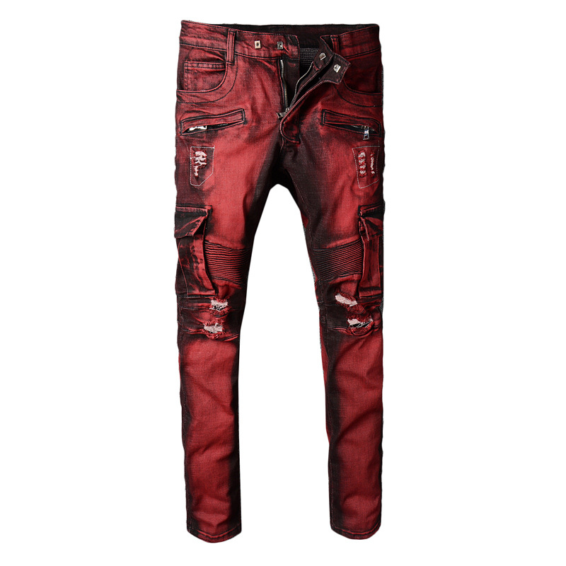 KIOVNO Fashion Men's Cargo Red Jeans Pants Ripped Distressed Denim Torusers For Male Size 29-40 Streetwear