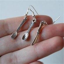 Античное серебро Цвет маленькая ложка Вилка и серьги с ножами
