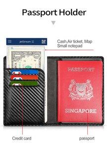 Image 5 - Carteira masculina com sistema rfid, carteira masculina feita em couro com tecnologia rfid, com compartimento para passaporte e cartão de visita