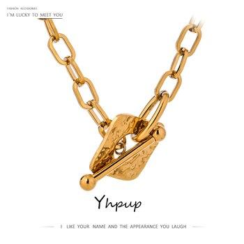 Yhpup Neue Design Platz Link Kette Neckalce für Frauen Edelstahl Goldene Metall Stilvolle Choker Neckalce Jahrestag Schmuck