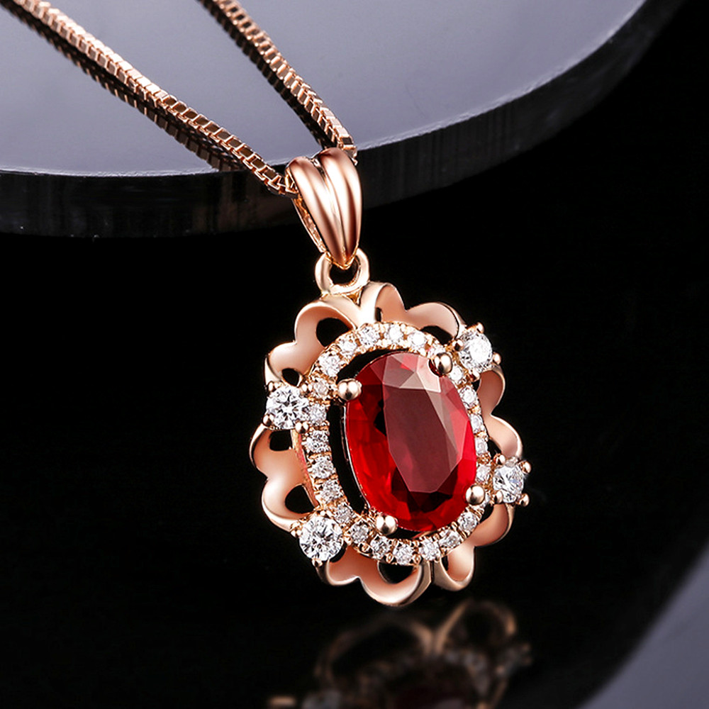 Vintage Carving Ruby Gemstones Red Crystal Zircon Diamonds Pendant Necklaces For Women Rose Gold Choker Chain Jewelry Bijoux