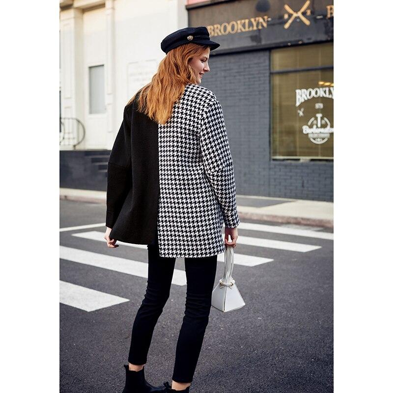 Image 2 - AEL Asymmetry Blazer casual Woollen jacket coat autumn winter  fashion swallow gird based ladies fashion wear 2019 newBlazers   -